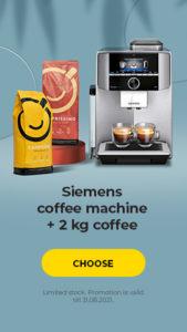 Siemens coffee machine + 2 kg coffee